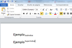 Subíndices y superíndices en Word