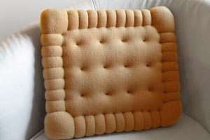 Un cojín con forma de galleta. Como hacer cojines con forma de galleta. Guia para fabricar un cojín o almohadon con forma de galleta