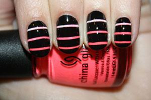 Decoración de uñas con rayas