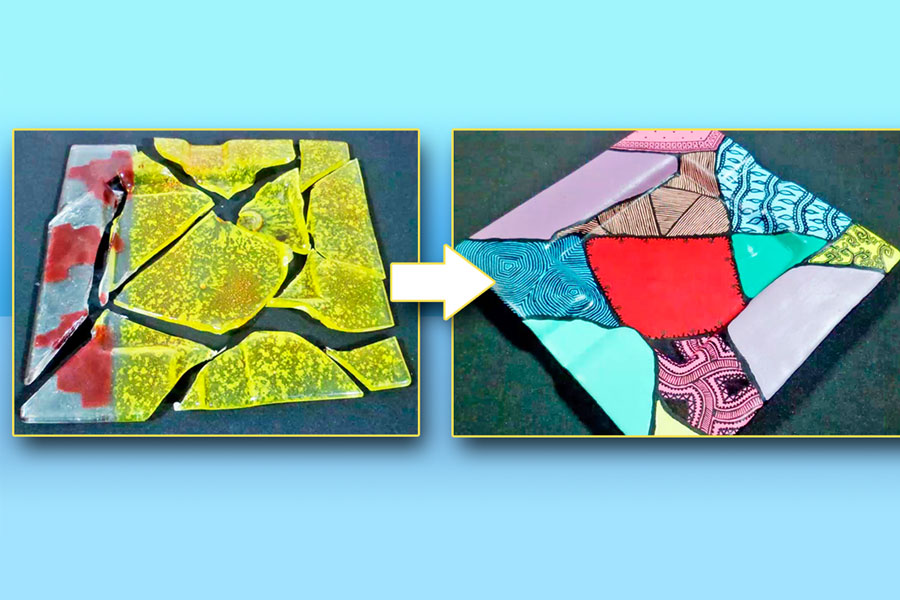 Cómo recuperar un adorno de vidrio. Idea simple para reutilizar un objeto de vidrio quebrado. Manualidad para crear un nuevo adorno que se ha roto