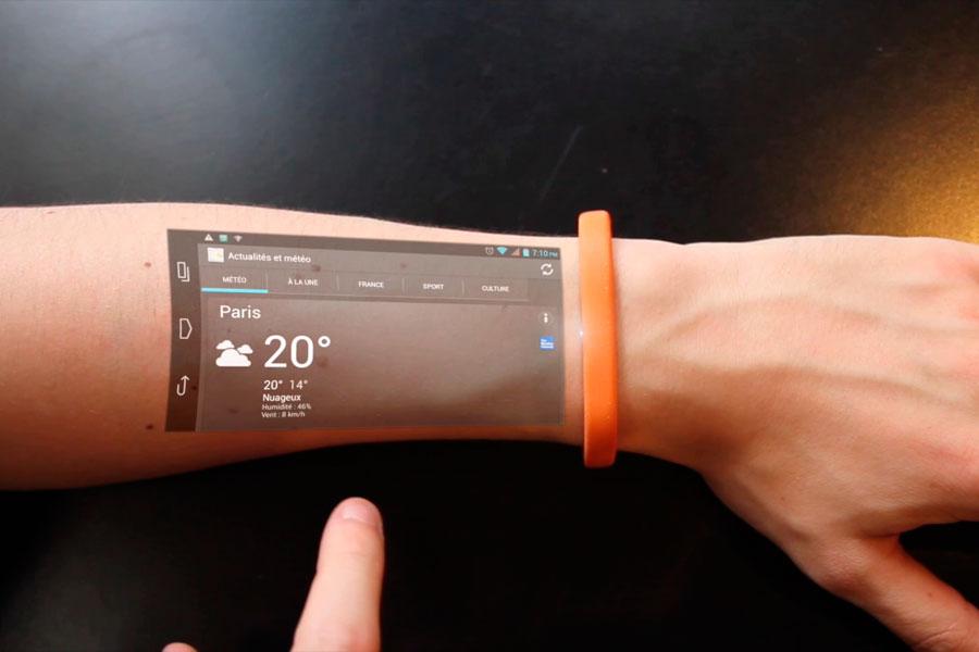 Qué es el Cicret Bracelet? Una pantalla táctil sobre tu brazo. Dispositivo con pantalla táctil sobre tu piel. Pulsera con pantalla táctil en tu piel