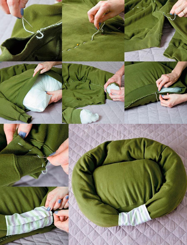 Cama para mascotas con una sudadera - Como hacer una cama de perro ...